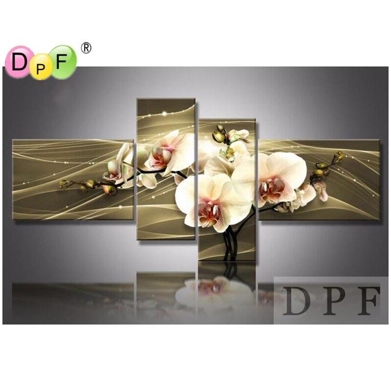 3D brun orchidée bricolage diamant broderie peinture carré strass point de croix triptyque décor à la maison Kits diamant mosaïque kit