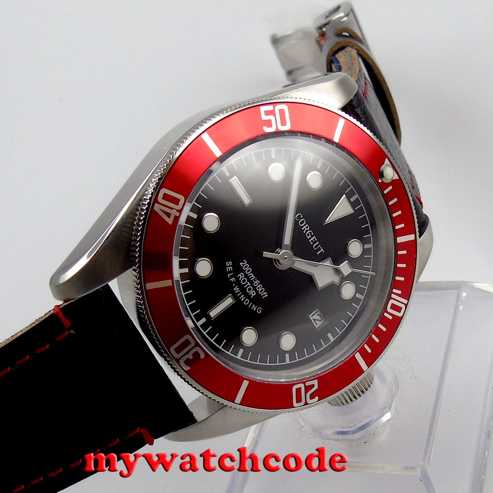 41mm corgeut black dial red bezel miyota Automatic movement diving mens watch 52 polisehd 41mm corgeut black dial sapphire glass miyota automatic mens watch c102