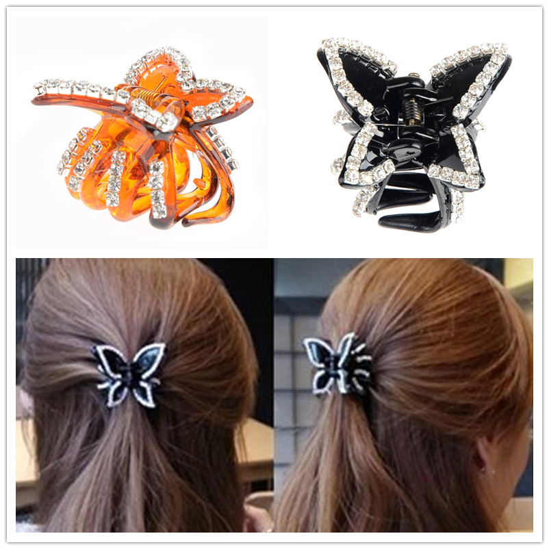 1pc Vintage Black Brown Batterfly Crystal Hair Claws Lovely Rhinestone Hair Clips Head Wear Hair Accessories for Women Jewelry