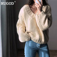 RUGOD Fashion Solid Women Sweater Oversized Casual Women Pullovers V Neck Knitted Plus Size Women Tops pull femme hiver