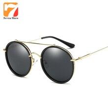Redondo de la manera gafas de Sol Polarizadas Las Mujeres Diseñador de la Marca de La Vendimia Gafas de Sol Para Damas Mujer Oculos gafas de sol de Espejo Shades
