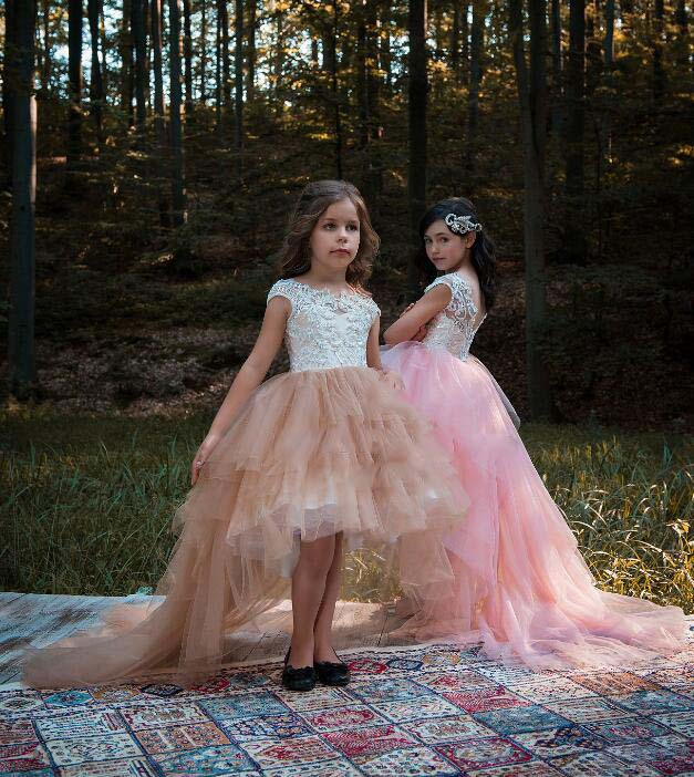 Hi-lo knee length with long tail blush pink flower girl dresses princess birthday evening party outfit with cap sleeves for prom big girls summer 2017 short grey champagne evening cocktail sweet 16 dresses homecoming blush pink prom dress with cap sleeve