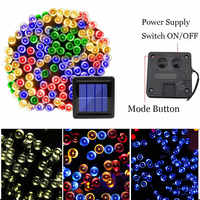 Waterproof Solar Garland String Strip Light Outdoor Waterproof 3 Mode Christmas Fairy 100 LED Solar Lights for Garden Decoration