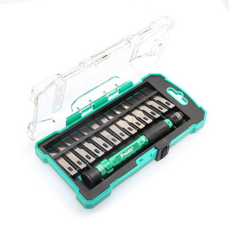 ProsKit PD 398 Aluminum Handle Knife Kit +13 Interchangeable Blades Compact Box Great Knife Set|knife kit|kit kits|blade kit - title=