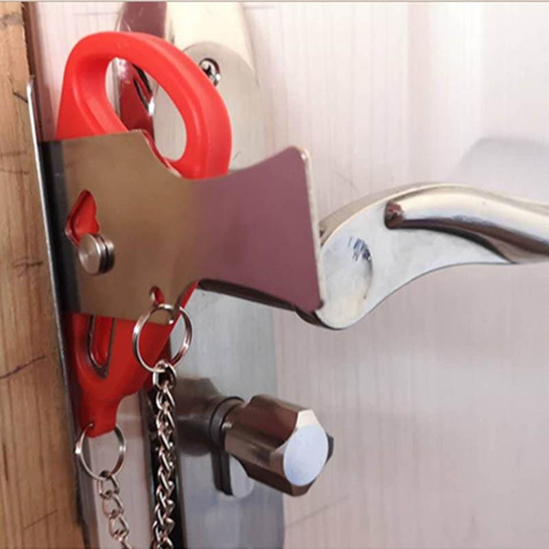 Self-Defense Stainless Iron Door Stopper Safe Door Stop Portable Hotel Door Lock 1Pcs Travel Accommodation Supplies