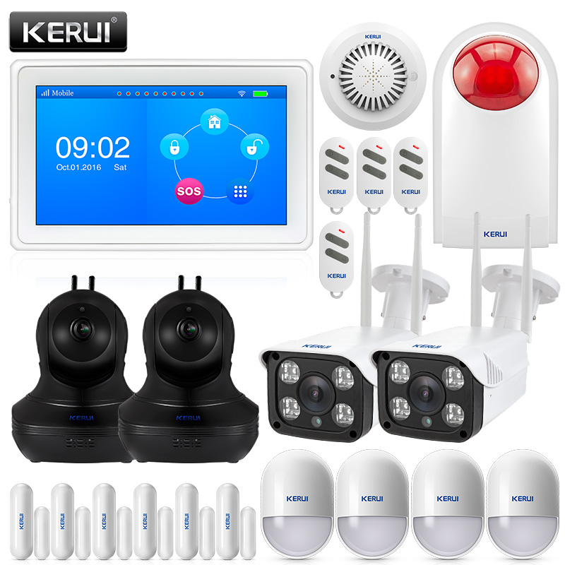 KERUI K7 7 Inch TFT Color Display WIFI GSM Security Alarm System With 4ps 1080 WIFI Camera Smoke Detector Siren Burglar kr k7 new arrival touch screen amazing design 7 inch tft color display wifi gsm flat table alarm system kit sd03 smoke detector