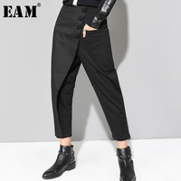 [EAM] 2019 New Spring Black Loose High Waist Flat Elastic Waist Women Fashion Tide Wide Leg Ankle length Pants OA870