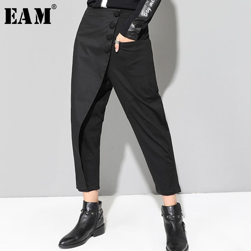 [EAM] 2020 New Spring Black Loose High Waist Flat Elastic Waist Women Fashion Tide Wide Leg Ankle-length Pants OA870