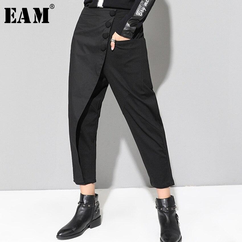 [EAM] 2020 New Spring Black Loose High Waist Flat Elastic Waist Women Fashion Tide Wide Leg Ankle-length Pants OA870