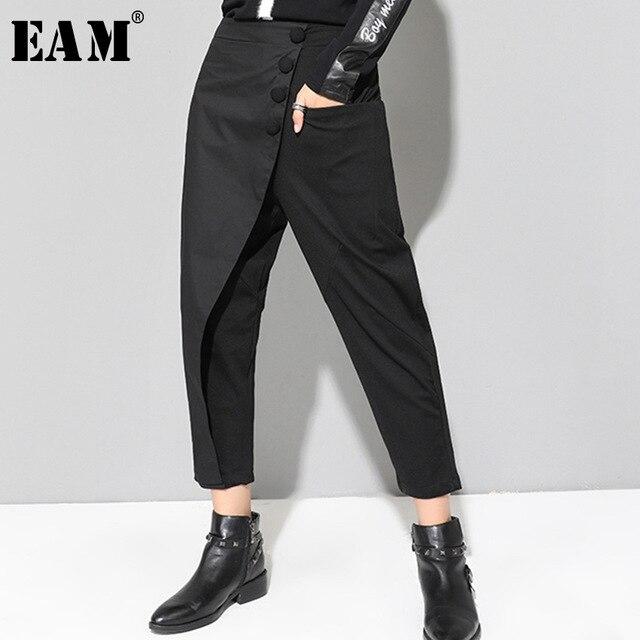 [EAM] ربيع جديد 2020 أسود فضفاض عالية الخصر شقة مرونة الخصر النساء الموضة المد واسعة الساق الكاحل طول السراويل OA870