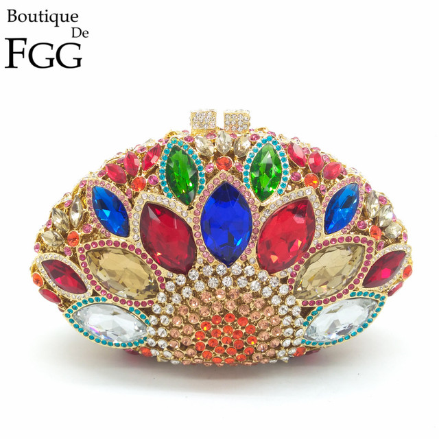 Famous Brand Hollow Out Shell Multi Giant Peacock Women Crystal Evening Clutch HandBags Wedding Party Bag Metal Clutches Purse