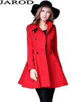 Winter Double Breasted Red Long Wool Coat Sacos Mujer Invierno 2017 Women Long Sleeve Camel Coat