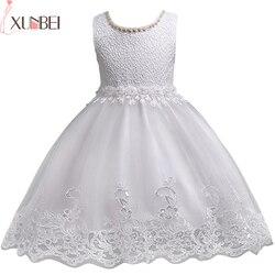 Adorável Lace Frisado Apliques de Flor Menina Miúdos Vestidos De Noite Para Vestidos de Casamento Primeira Comunhão vestido comunion