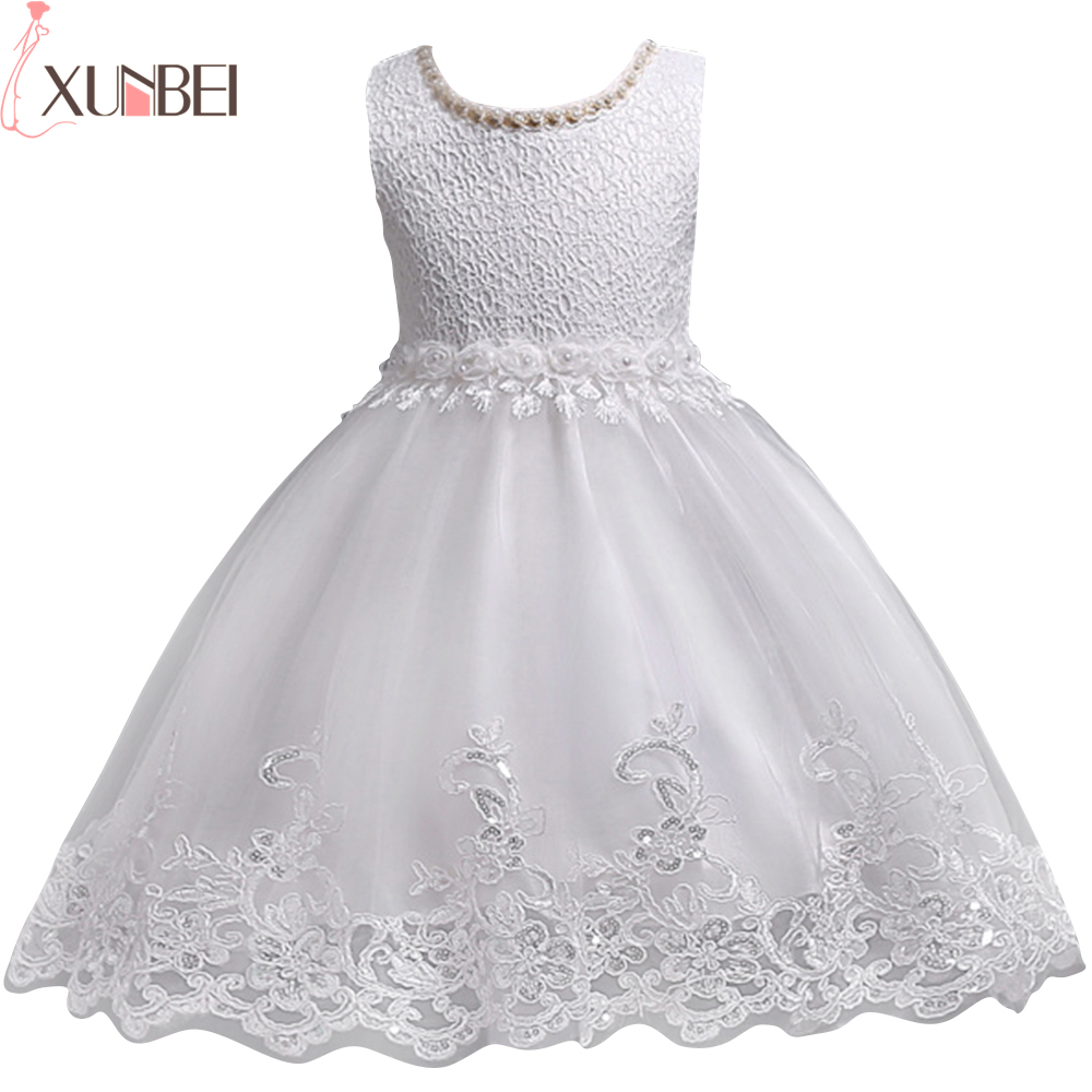 Lovely Lace Appliques Beaded Flower Girl Dresses Kids Evening Gowns ...