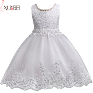 Image 1 - 素敵なレースアップリケビーズ真珠フラワーガールドレスキッズイブニングドレス結婚式初聖体服vestido 1 10Years