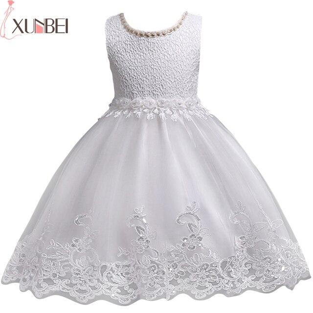 素敵なレースアップリケビーズ真珠フラワーガールドレスキッズイブニングドレス結婚式初聖体服vestido 1 10Years