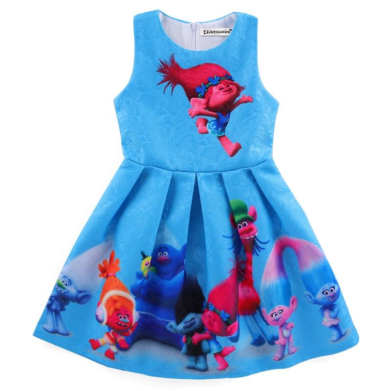 2017 Summer Girls Dress Trolls Dress For Girl Princess Birthday Party Dress Trolls Costume For Kids Children Clothes marfoli girl princess dress birthday