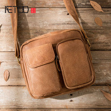лучшая цена AETOO The first layer of leather Messenger bag leather men's oil leather shoulder bag Japanese large-capacity back bag differenc