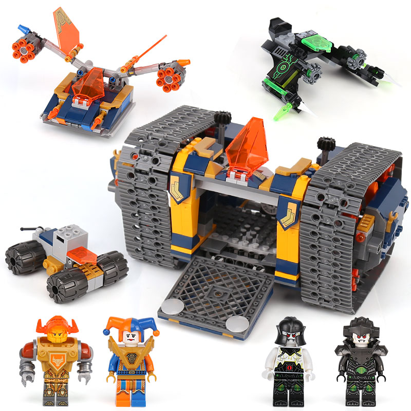 676pcs Knights Nexo Knights Axl's Rolling Arsenal Destroyer 14042 Model Building Blocks Toy Bricks Nexus Compatible With legoING knights of sidonia volume 6