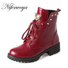 2016 New autumn/winter women shoes big size 30-50 fashion Round Toe Rivets decoration Lace-Up Ankle boots 30 31 32 33 HQW-A20
