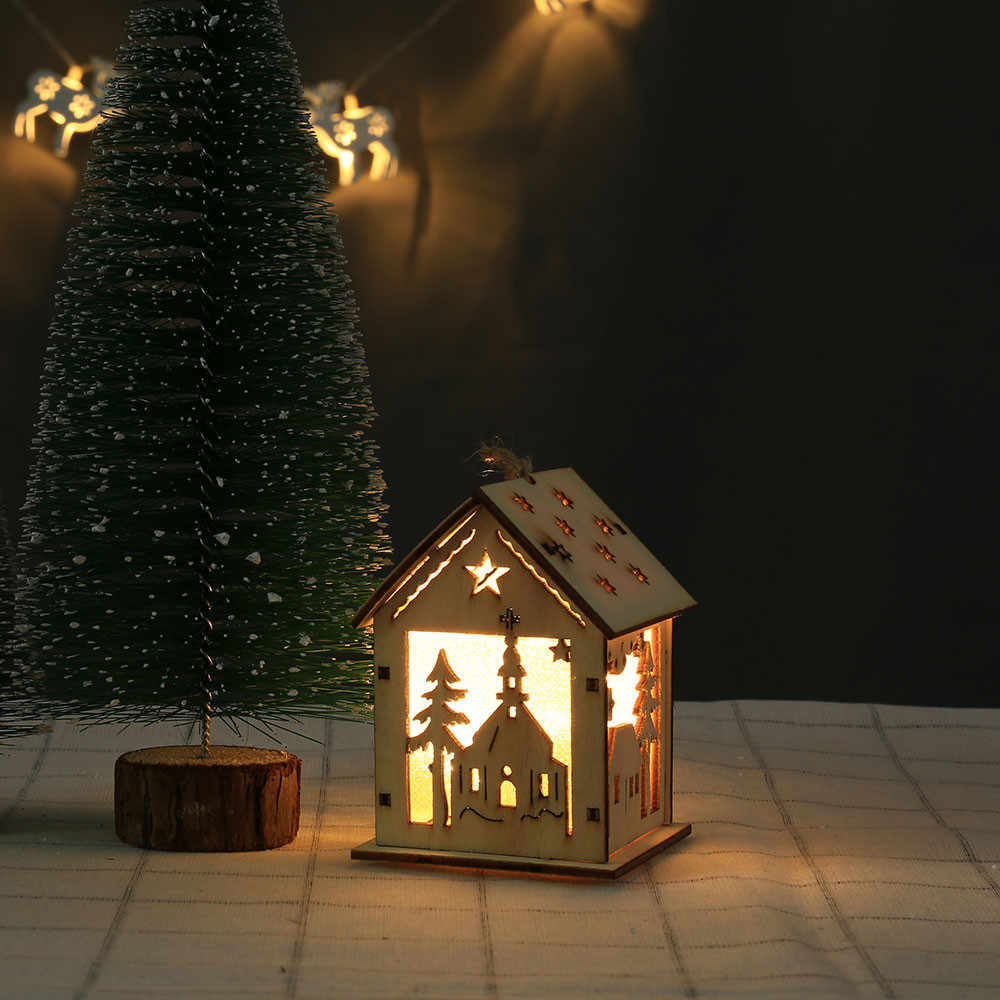 Hollow Wooden House Lamp Warm White Glowing Christmas Tree Hanging Ornaments Wood Craft For 2019 New Year Home Xmas Decorations