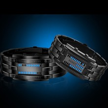 Luxury Lovers Wristwatch Waterproof Men Women Stainless Steel Blue Binary Luminous LED Electronic Display Sport Watches