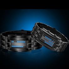 Luxury Lovers' Wristwatch Waterproof Men Women Stainless Steel Blue Binary Luminous LED Electronic Display Sport Watches Fashion