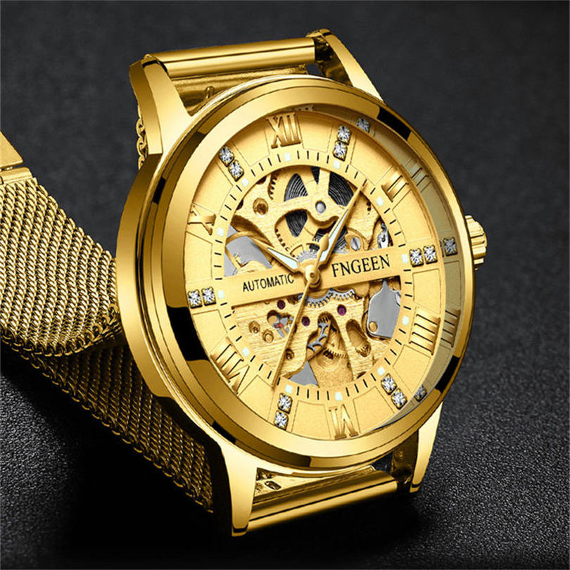 Watches Mechanical Watches Intellective Fngeen Classic Gold Skeleton Mechanical Watch Men Stainless Steel Strap Top Brand Luxury Man Watch Vip Drop Shipping Wholesale