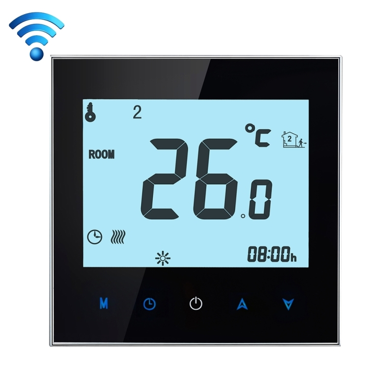 16A 220V AC LCD Touchscreen Weekly Programmable Electronic Floor Heating Temperature Phone Controller Room Air Thermostat