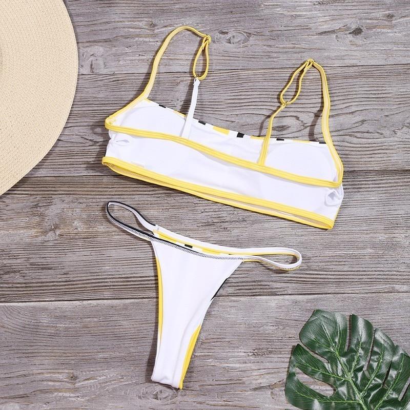 Sexy Stripe Print Swimsuit Women Solid Tube Top Bathing Suit High Cut Bikini Set Backless Beachwear Summer Brazilian Swimwear