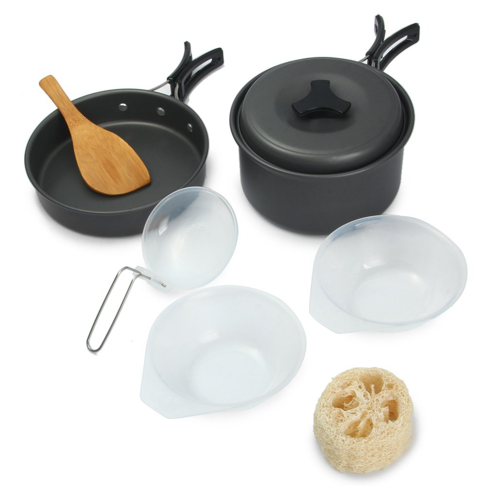 Utilidad 8 unids exterior que acampan yendo de utensilios tazón Pan Pot Set vaji