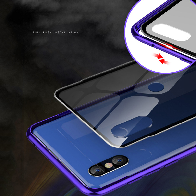 2 in 1 Armor Phone Case For Xiaomi Mi Mix 3 Aluminum Metal Bumper Transparent Tempered Glass Cover Case For Xiaomi Mix 3 Cases in Fitted Cases from Cellphones Telecommunications