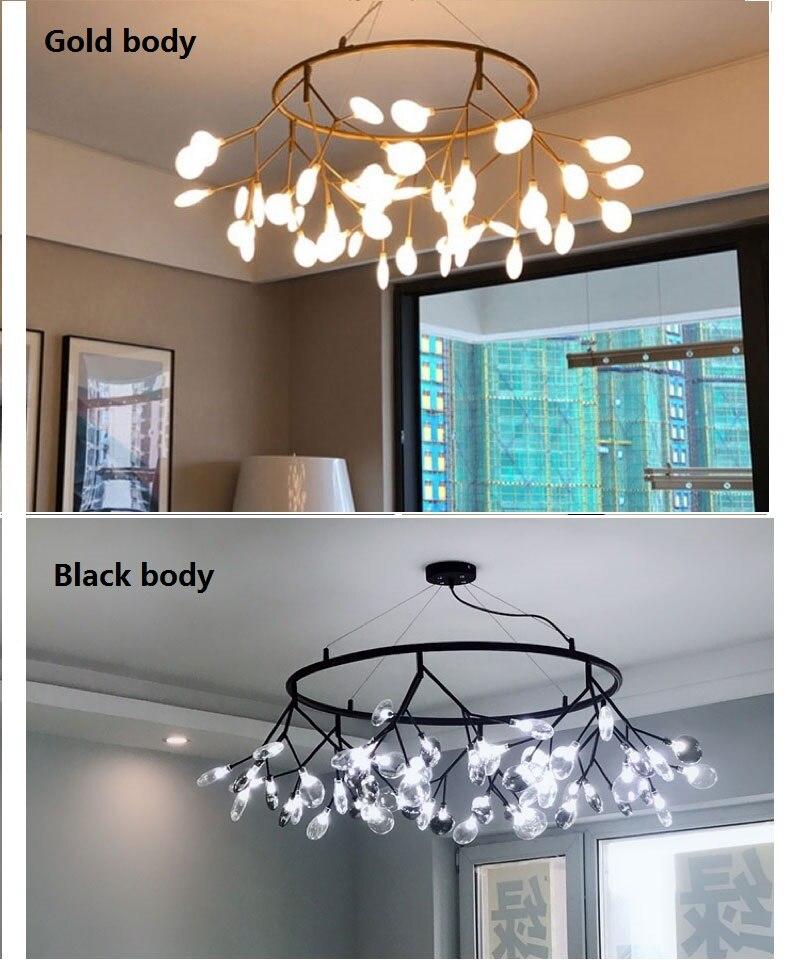 Lámpara de araña redonda moderna de luciérnaga LED con estilo lámpara colgante de rama de árbol araña circular decorativa colgante de Led - 4