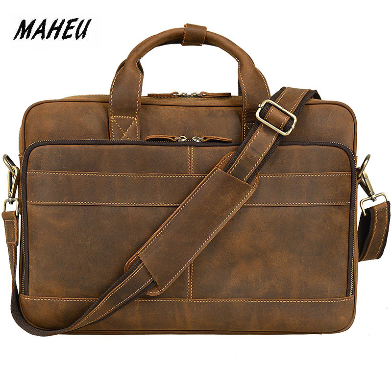 MAHEU Classic Luxury Designer Mens Leather Briefcase Vintage Style Commute Hand Bags Office Men Laptop Shoulder Bag Cow SkinMAHEU Classic Luxury Designer Mens Leather Briefcase Vintage Style Commute Hand Bags Office Men Laptop Shoulder Bag Cow Skin