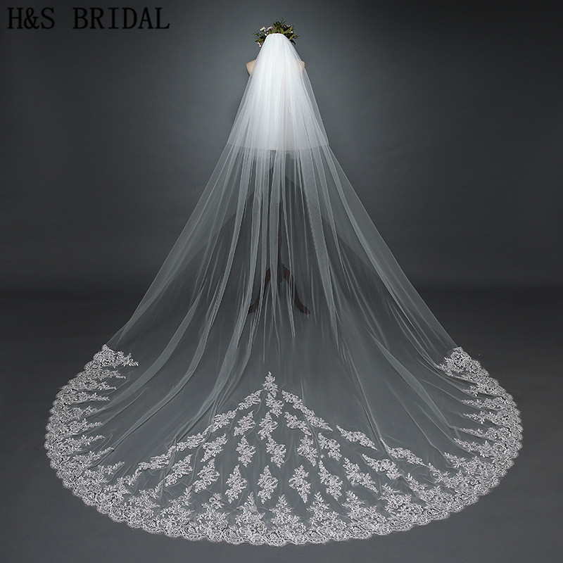 Купить с кэшбэком H&S BIDAL wedding accessories Ivory 3.8M wedding veil with comb Two Layer Three Meters Width 3.8m*3m Lace Long Bridal Veil veu