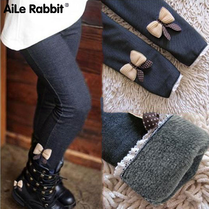 AiLe Rabbit new kids girls jean bow pants cotton cashmere pants elastic waist girls legging warm pants winter spring children цены