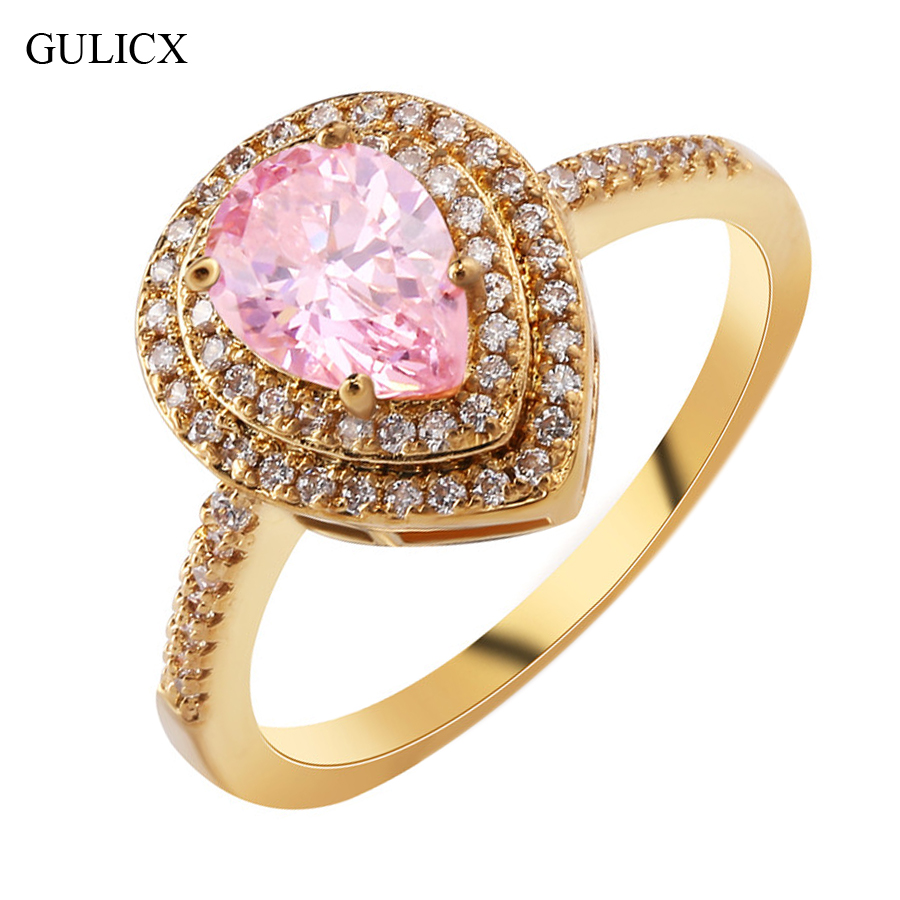 GULICX 2017 New Fashion Double Halo Finger Ring Gold color ...