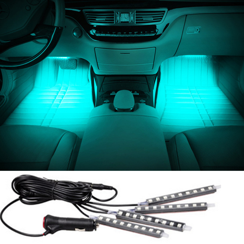 4x9LED Car SUV Interior Light Atmosphere Decorative Light Neon Lamp Strips For SUBARU Forester Impreza Xv Legacy Outback Sti for citroen ds4 ds 4 wireless control color neon glow interior under dash footwell floor decorative atmosphere seat accent light