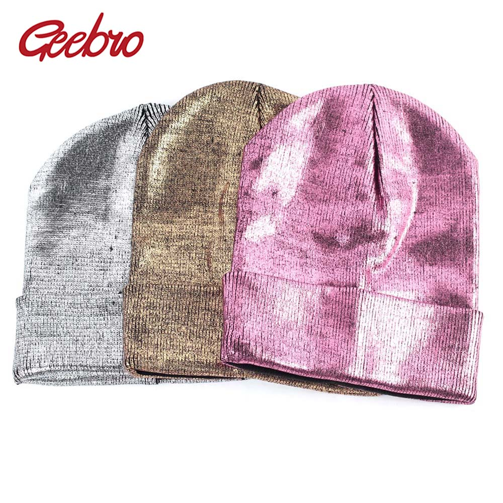 Geebro Women's Metallic Color Beanie Hat Autumn Casual Bronzing Slouchy Beanie For Women Knitted Acrylic Skullies For Female