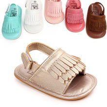 f323bb0ebd1da Baby Girls Summer Shoes Tassels Sandals PU Suede Leather Toddlers Bebe  Nonslip Shoes Flats Soft Sole Infant Sandals Shoes