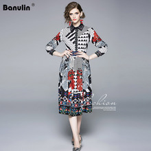 Banulin Fashion Designer Runway Shirt Dress 2019 Fall Women Long Sleeve Turn Down Collar Flower Print Striped Vintage Midi