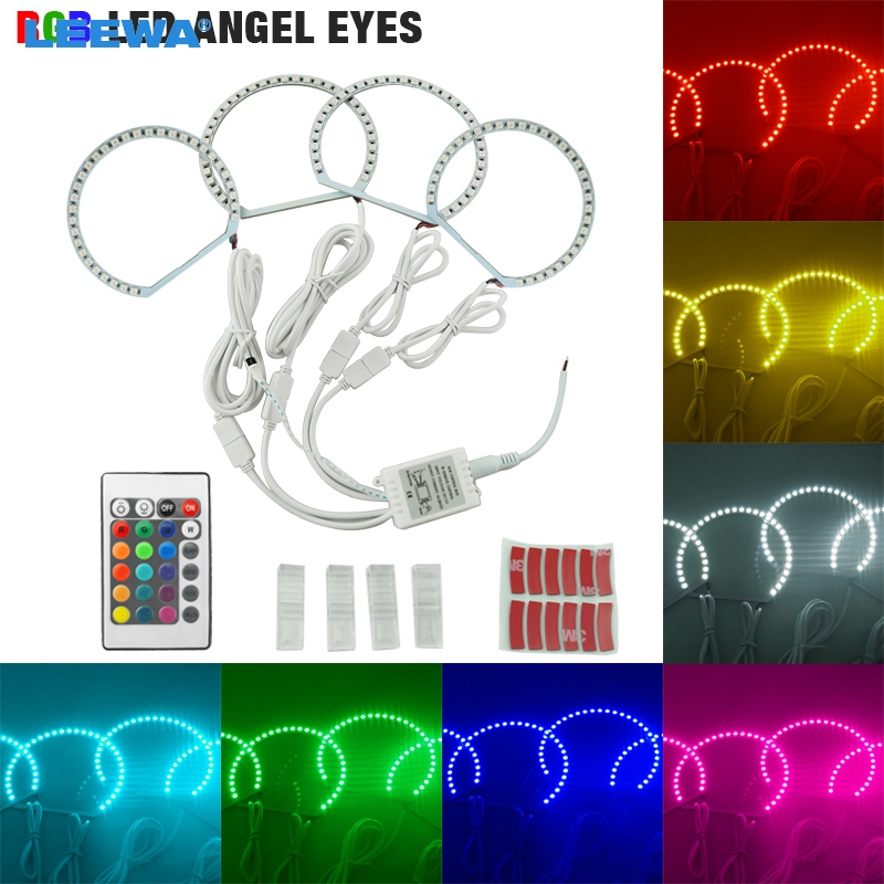 LEEWA 4X131mm Car RGB Multi-Color LED Angel Eyes Halo Ring Light Kit Wireless Remote Control For Lada VAZ <font><b>2106</b></font> #CA1104 image