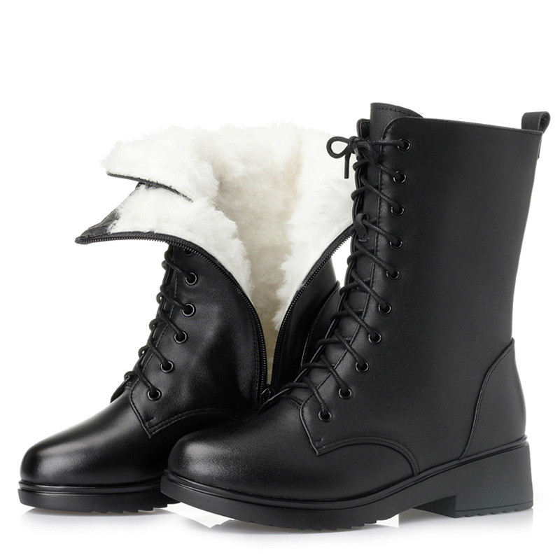 Mid-boots children winter plus velvet leather with large size women's shoes British Martin boots students new military boots. jimmy choo туфли