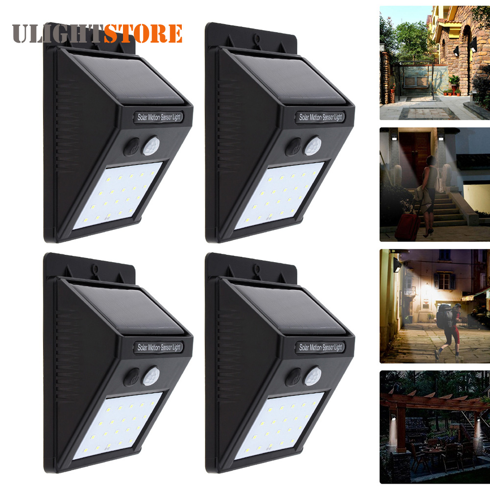 4pcs! Rechargeable Solar Power LED Wall Light PIR Motion Sensor Outdoor Waterproof Garden Yard Street Path Home Security Lamp