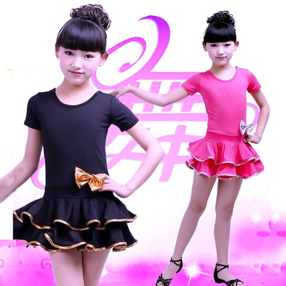 Kids Ballroom Dance Wear Bow Salsa Tango Rumba Samba Costume Child Children Professional Latin Dance Dress For Girls Flamengo