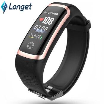 Longet Fitness Watch M4 HR Blood Pressure Waterproof Smart Bracelet Calories Smart Wristband Sport Watch for iOS New pk fitbits
