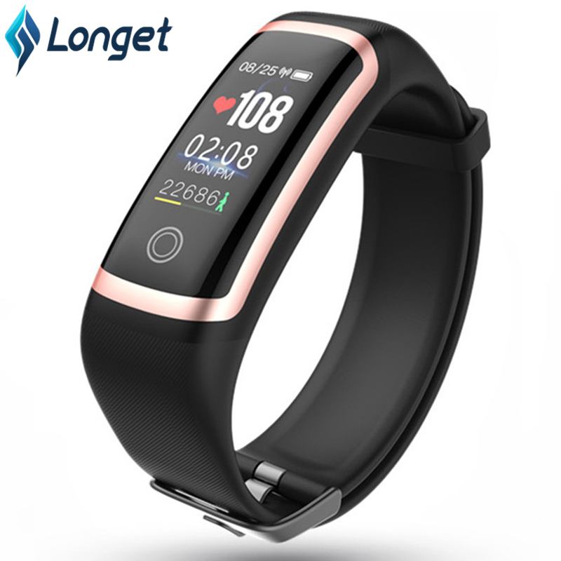 Longet Fitness Watch M4 HR Blood Pressure Waterproof Smart Bracelet Calories Smart Wristband Sport Watch for iOS New pk fitbits image