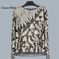 S XL Geometric Sequins Beading Blouse Women Fashion Pullovers Lace Tops