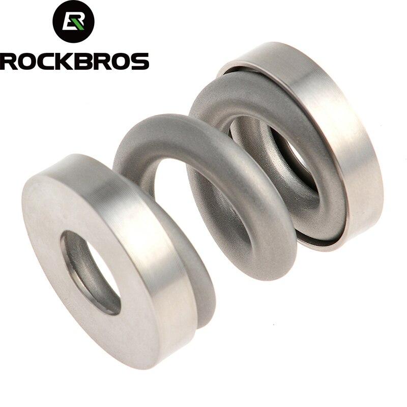 все цены на ROCKBROS MTB Bicycle Rear Shocks Titanium Bike Cycling Coil Spring Suspension Rear Shock Shox for Brompton Rear Bumper Absorber онлайн