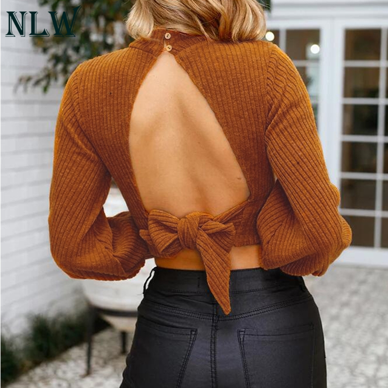 NLW Long Sleeve Solid Gray Sexy Knitted Sweater Pullovers High Street Women Winter Sweate Backless Bow Crop Top Sweater